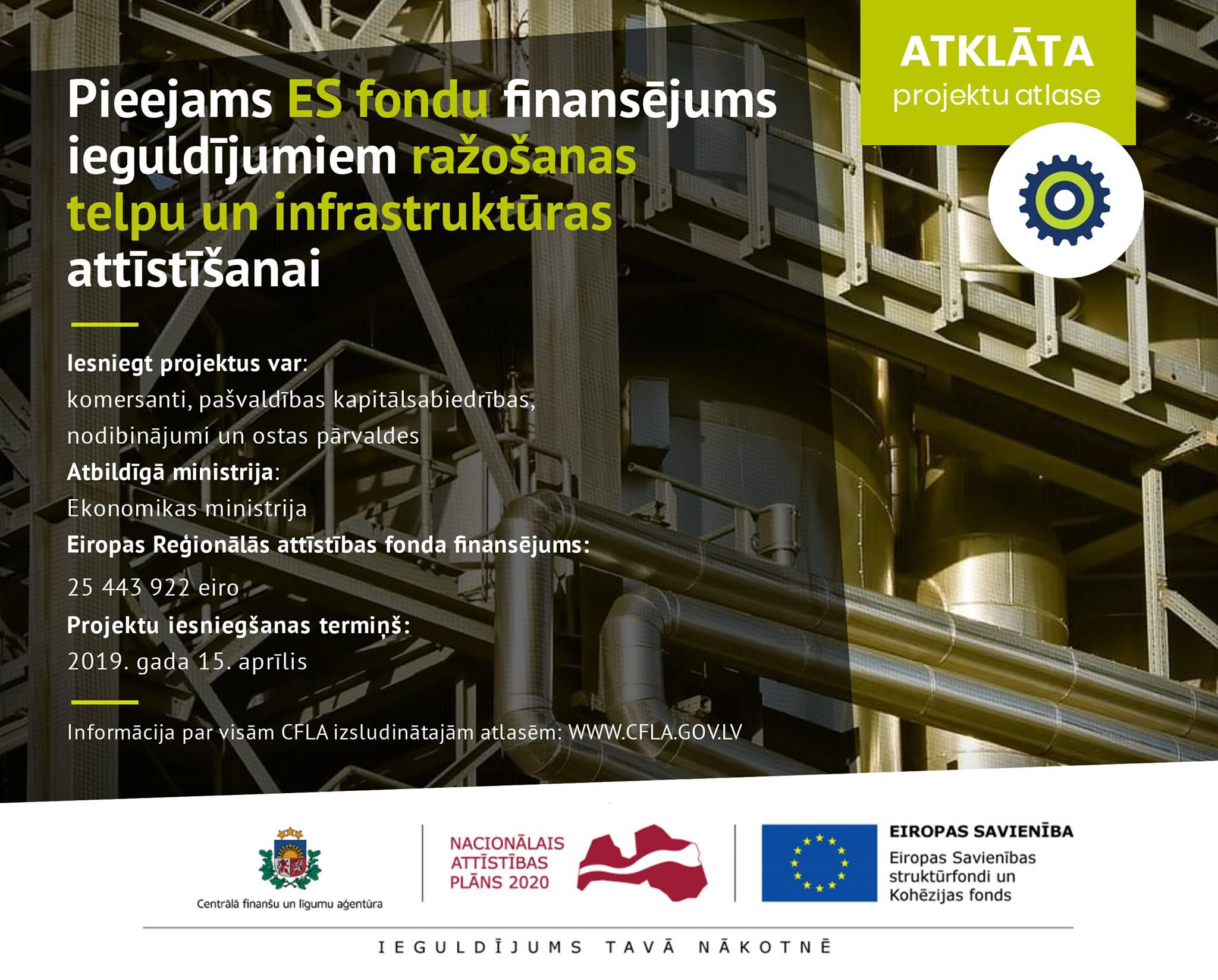 Var iegūt atbalstu ieguldījumiem ražošanas telpu un infrastruktūras izveidē vai rekonstrukcijā