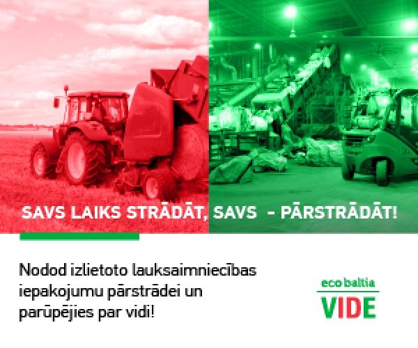 """SIA """"Eco Baltia vide"""" nodrošina vairākas iespējas bez maksas nodot lauksaimniecības iepakojumu"""